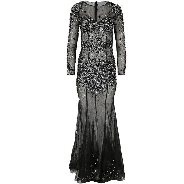 RUBY Black Long Sleeved Sheer Maxi Fishtail Dress Forever Unique ($80) ❤ liked on Polyvore featuring dresses, longsleeve dress, fishtail maxi dress, embellished dress, see-through dresses and sheer embellished dress
