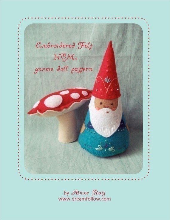 felt embroidered NOM gnome doll PDF pattern van littledear op Etsy
