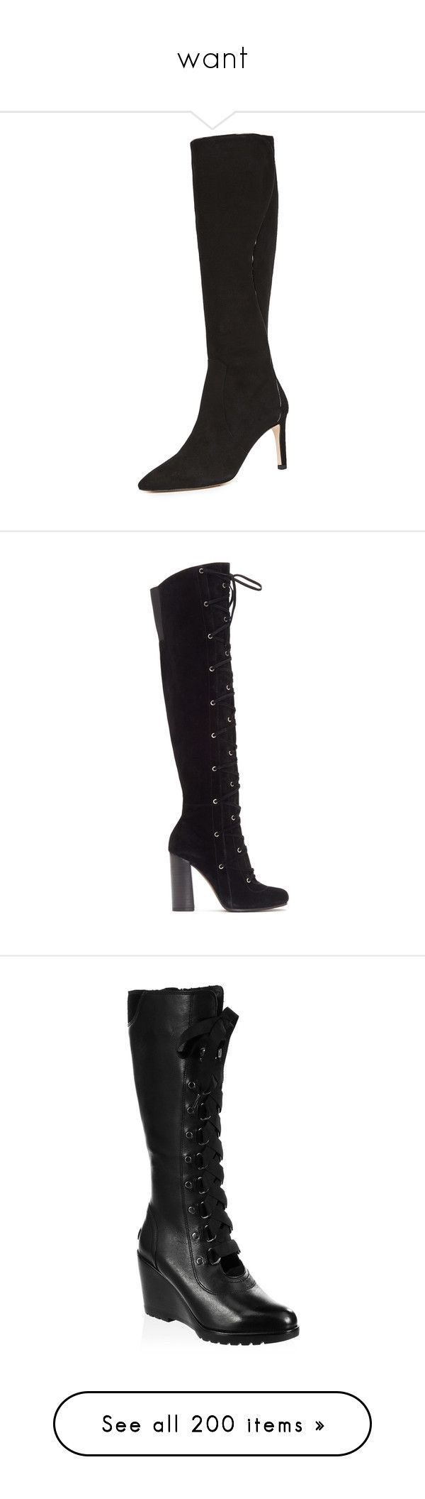 """""""want"""" by toddii ❤ liked on Polyvore featuring shoes, boots, black, black high boots, leather knee high boots, black leather boots, pointed toe boots, pointed toe leather boots, suede lace-up boots and black suede shoes"""