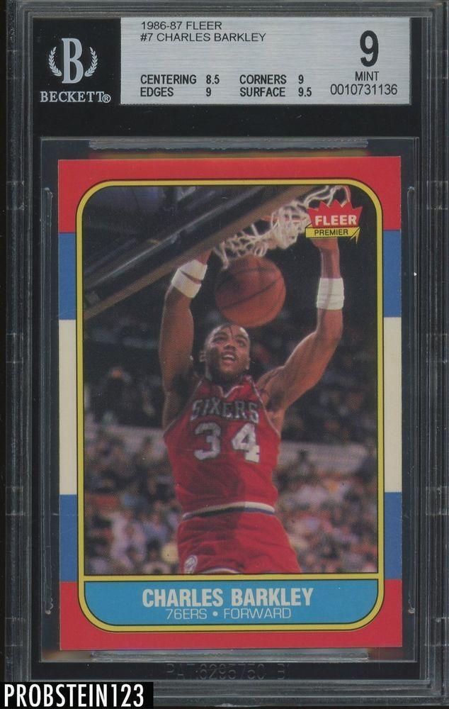 new style 815c3 70744 1986-87 Fleer Basketball  7 Charles Barkley 76ers RC Rookie BGS 9 w  9.5
