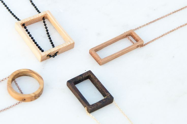 Handmade Pendants from different woods with brass and copper chains by giodim