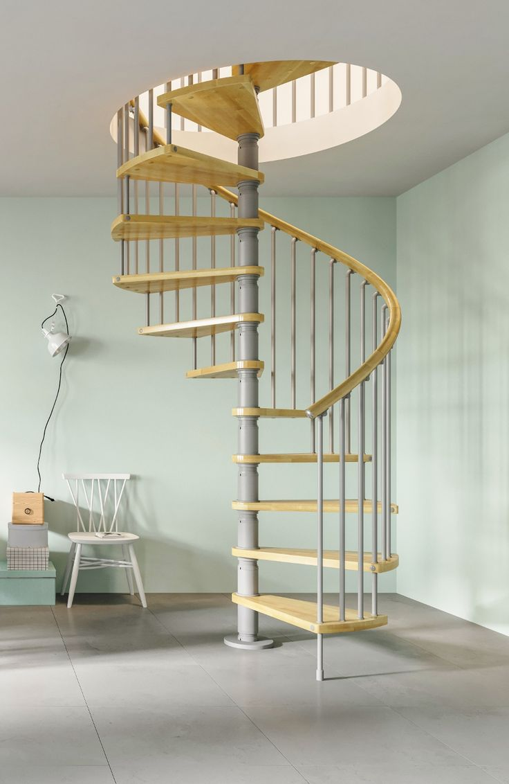 Gamia Wood Deluxe Spiral Stair Kit complete with solid Beech treads and  handrail - Silver Grey