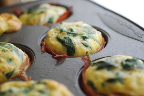 Always Order Dessert: Spinach & Goat Cheese Frittata Ham Cups