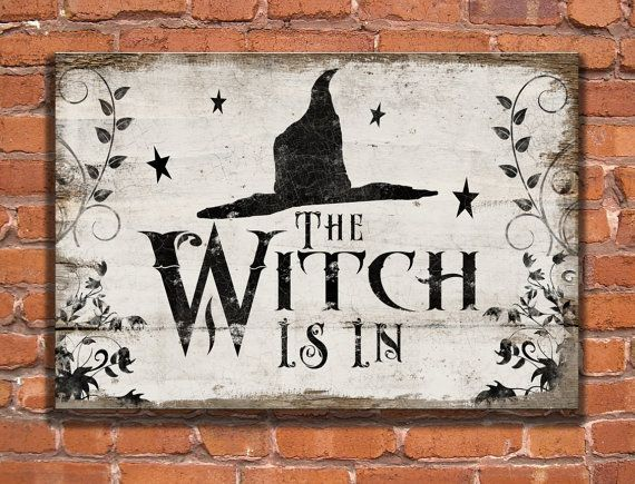Halloween wooden sign. The Witch is in - Art is made to look distressed. Handmade Approx. 13x19x3/4 inches. Sides and back are painted black