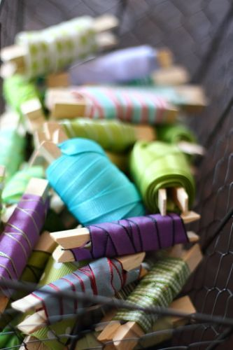 Ribbon Organization Tutorial  Ribbon ends on clothespins! What a great idea