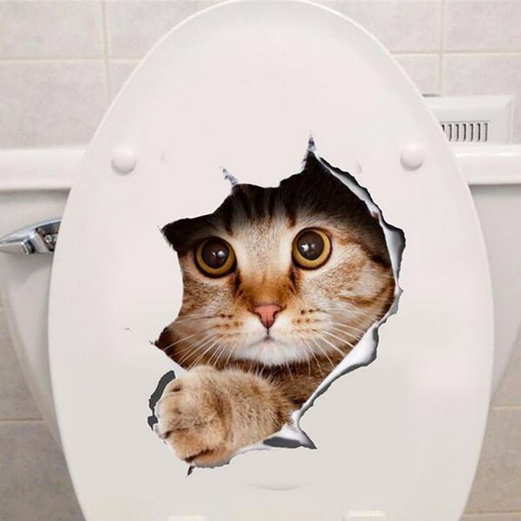 3D Hole View Vivid Dogs Cats Wall Stickers Bathroom Toilet Stickers Room Decoration Animal Vinyl Decals Art Sticker Wall Poster
