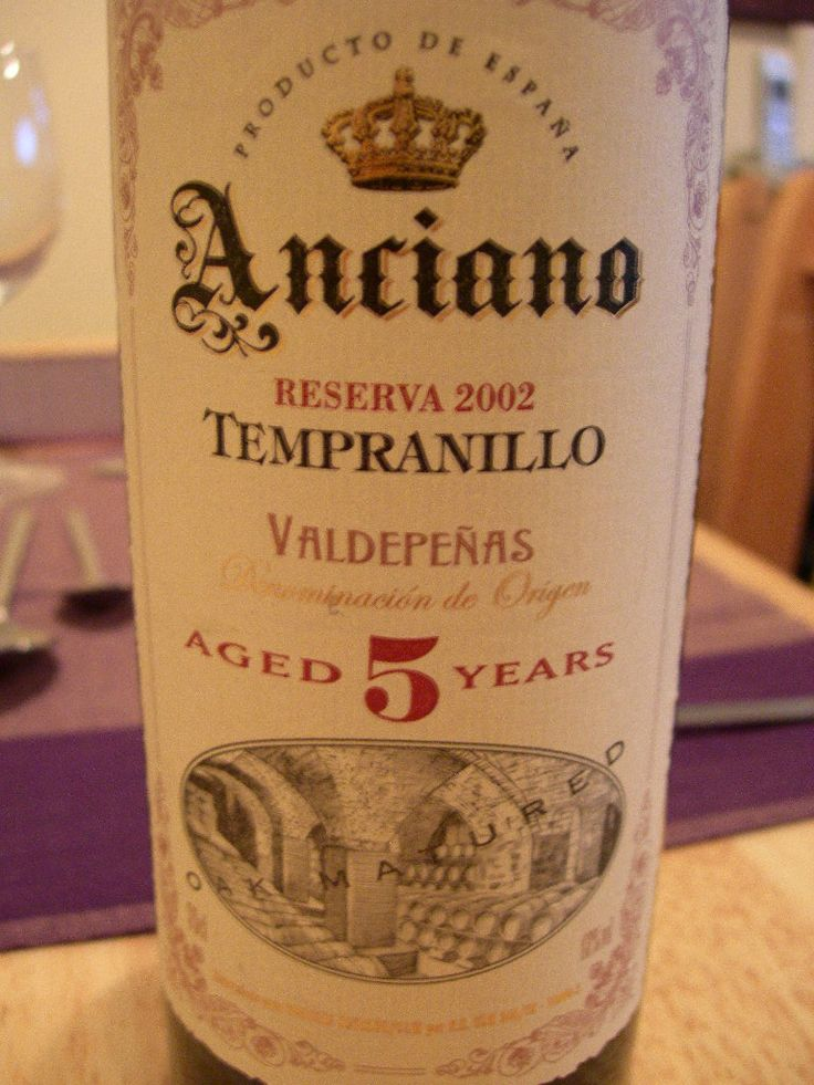 Wine Anciano Tempranillo Valdepenas Wine Coolers Drinks