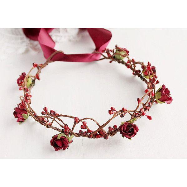 Marsala Bridal Crown Burgundy Rose Halo Deep Red Circlet Woodland EUR32 Liked On Polyvore