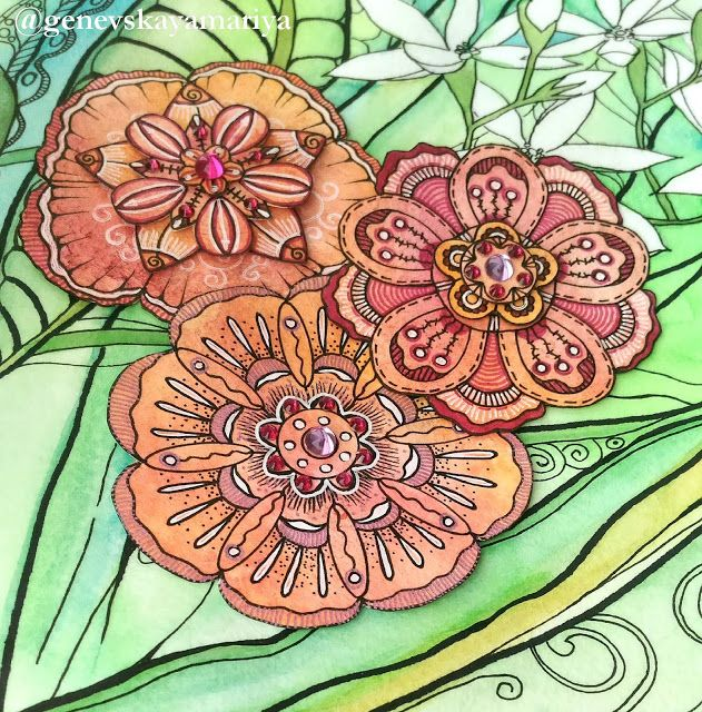 Ларчик самоцветный: Акварель, графика, 3D цветочки.
