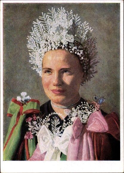 Künstler Ansichtskarte / Postkarte Retzlaff, Hans, Braut aus Mramorak Südslawien, Banater Schwaben