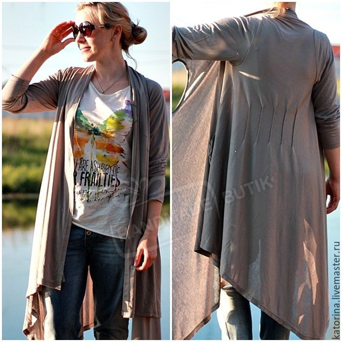 Купить Туника-Накидка из трикотажа приталенная с карманом Серый однотонный - асимметрия, асимметричное платье
