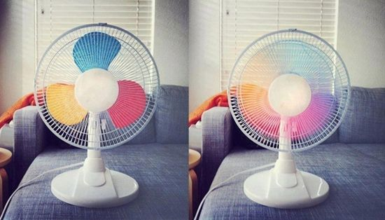 Paint your fan blades primary colors (add secondary and/or tertiary depending on the number of blades) and they blend into a lovely rainbow when turned on! Fun for kids!