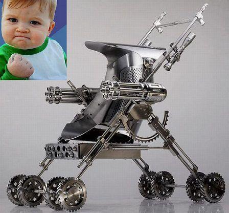 Zombie Apocalypse baby stroller. Even the baby needs to be prepared!!