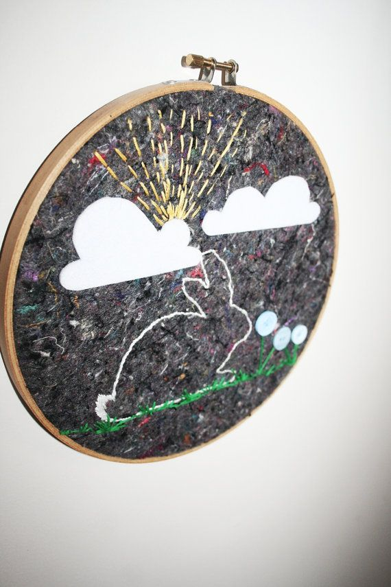 Sunshine Bunny  Children's Embroidery Hoop Wall Art by tasha2shoes, $25.00
