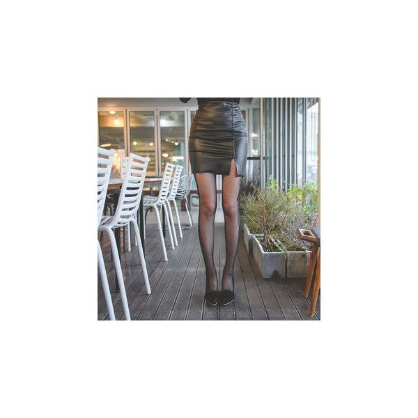 Slit-Front Faux-Leather Mini Pencil Skirt ($27) ❤ liked on Polyvore featuring skirts, women, vegan leather skirt, fake leather skirt, leather look pencil skirt, front slit skirt and leather look mini skirt