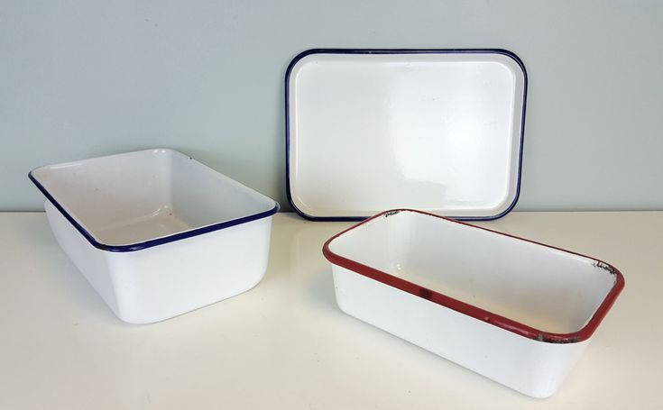 Classic Enamel Bakeware Set, Red White Blue Enamel Loaf Pans, Rustic Farmhouse Kitchen Decor, Shabby Chic, Country Farmhouse Kitchen Decor by CurioBoxx on Etsy