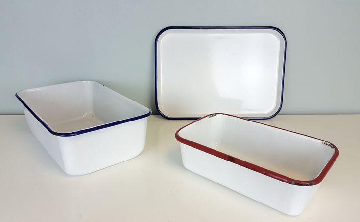 Classic Enamel Bakeware Set, Red White Blue Enamel Loaf Pans, Rustic Farmhouse Kitchen Decor, Shabby Chic, Country Farmhouse Kitchen Decor by CurioBoxx on Etsy