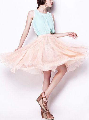 Pink Elastic Waist Multilayers Mesh Skirt - Sheinside.com