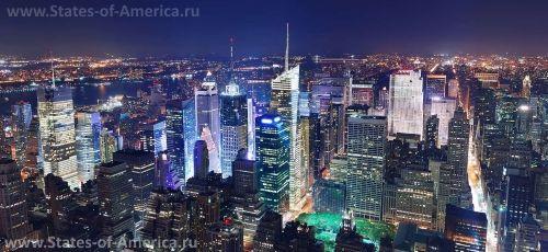 Ночной вид на небоскребы Нью-Йорка
