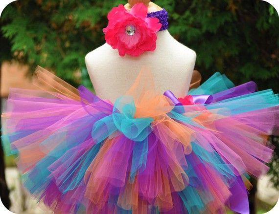 Shuli 6 mo th photos. Birthday Tutu baby tutu pink purple orange blue by TrinitysTutus, $25.00