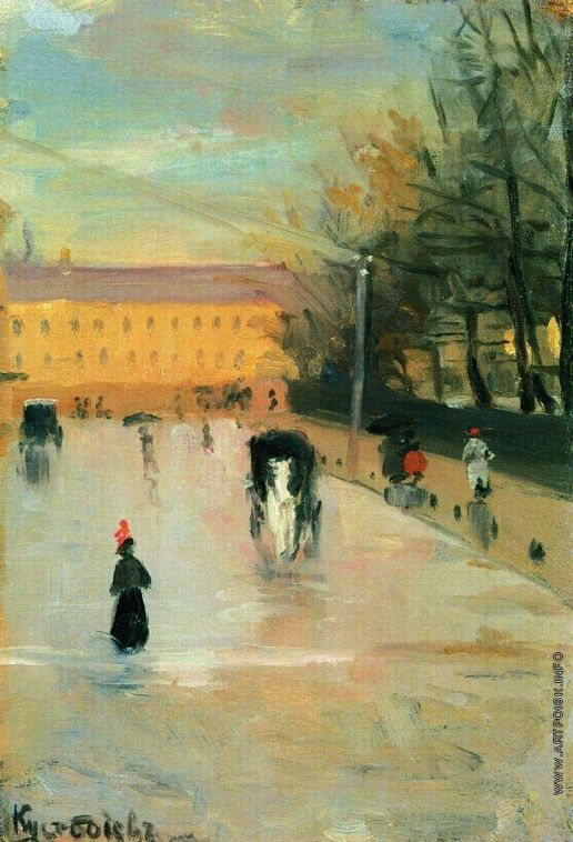 Кустодиев Б. М. Вид из окна Академии художеств