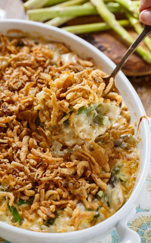 Asparagus Casserole is super creamy with a french-fried onion topping.