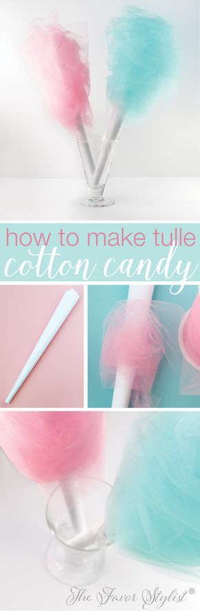 Here's a simple and inexpensive way to make tulle cotton candy that looks just like the real thing—without the sticky sugar. Perfect for party centerpieces!