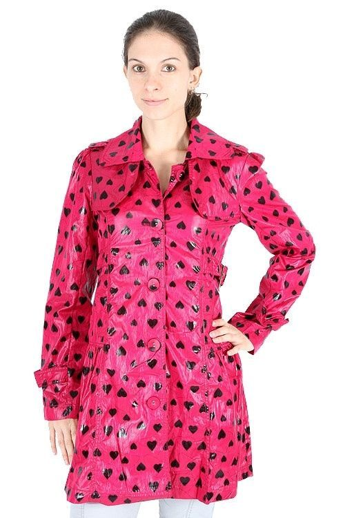 Yumi Fuchsia Black Heart Slim Fit Thin Hot Pink Trenchcoat Rain Jacket $167 CAD
