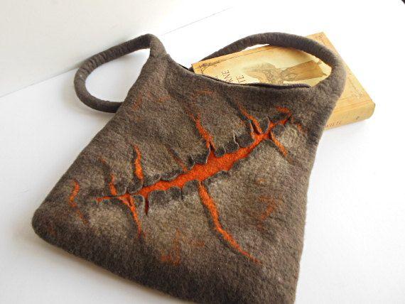 Felted bag, hand felted wool bag purse, unique handbag, designer's art bag OOAK brown, orange bag