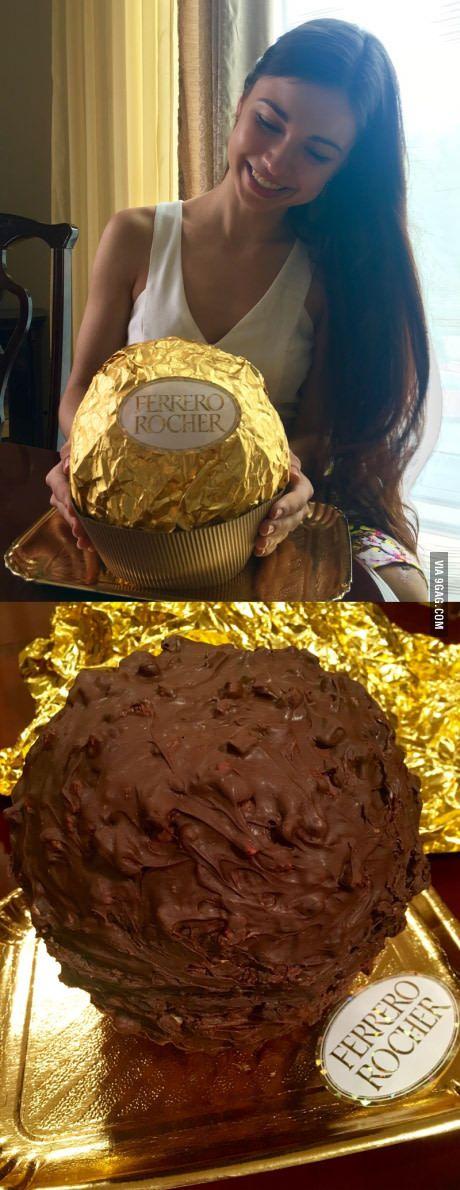 So I made this 5kg giant Ferrero Rocher cake :)