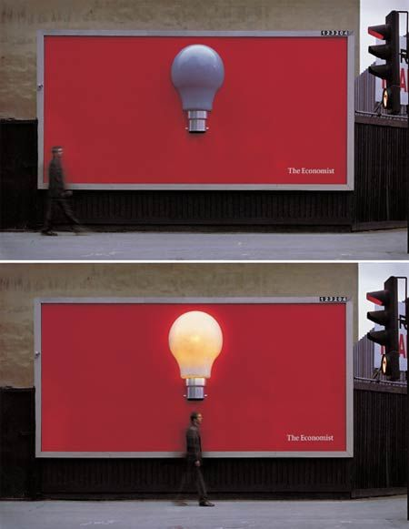 The Economist interactive guerrilla marketing bulletin board. Lights up using a motion sensor. Brilliant brand positioning!