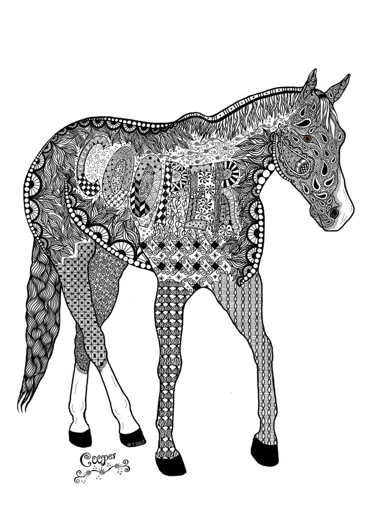 Zentangle of a horse Cooper