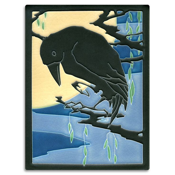 Midnight raven tile made in Ann Arbor Michigan by Motawi Tileworks