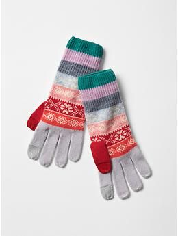 Fair isle stripe wool gloves in multi stripe.