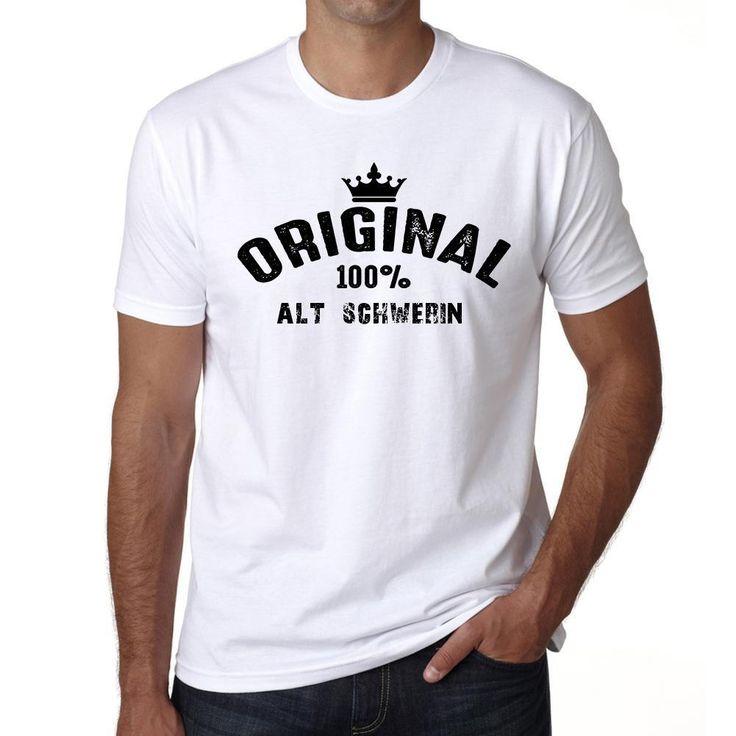 alt schwerin, 100% German city white, Men's Short Sleeve Rounded Neck T-shirt