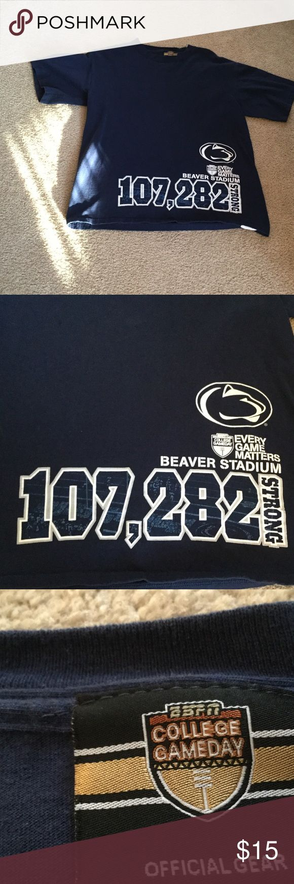Penn State Tee Shirt. ESPN Blue and white in color.  100% cotton.  Made in Honduras.  Official college game day gear.  29 inches from shoulder to bottom of tee shirt.  Size large.  Very good condition. ESPN College Game Day Shirts Tees - Short Sleeve