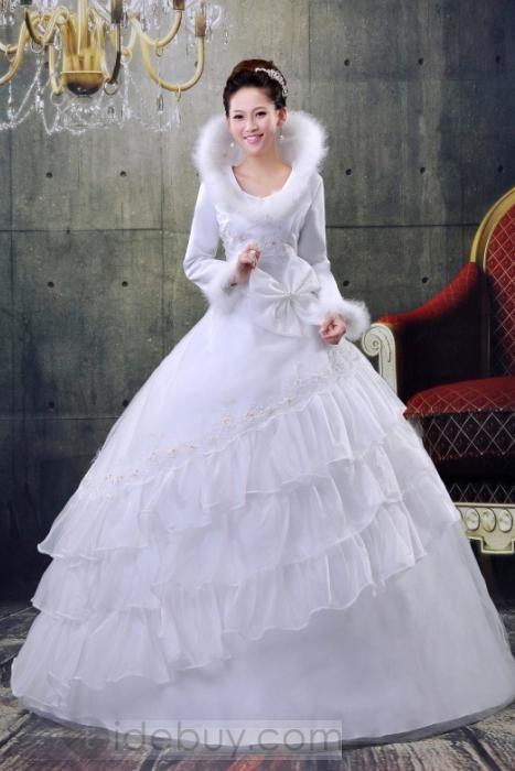 プリンセスラインボールガウン多層式ロングスリーブ蝶結びロング冬用ウェディングドレス