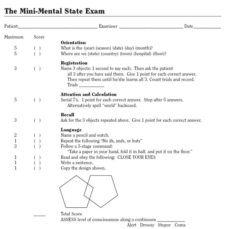 MMSE. Used to assess cognitive status. Use this a lot in the nursing home.