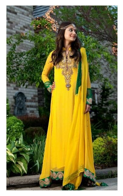 Pakistani dress #yellow Check out more desings at: http://www.mehndiequalshenna.com/