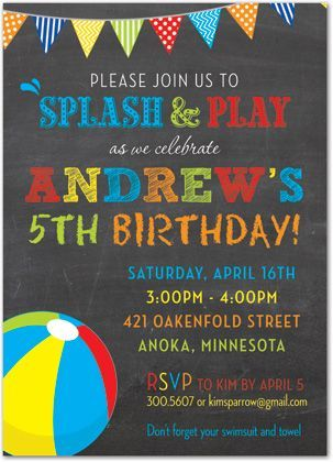 printable pool party save the date cards - Google Search