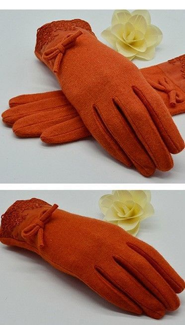 Wool Cashmere Wool Warm Orange Fashionable Gloves & Mittens Winter #YWCYSNOW #Fashionaccessories #All