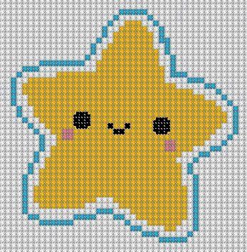 graficos para bordar de estrella y pastelito