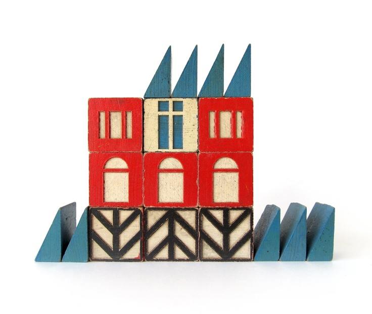 In XXL please. (via sushipot).: Village Wooden, Village Blocks, Building Blocks, Vintage Wooden, Wooden Toys, Blocks House, Vintage Toys, Wooden Blocks, Wooden Building
