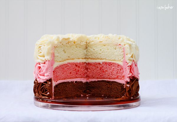How to Build and Decorate a Layer Cake {Neapolitan Cake!} via @Amanda Rettke // I Am Baker
