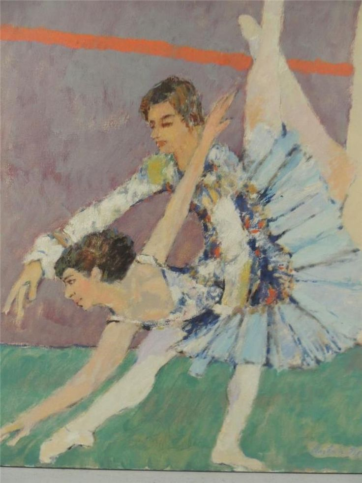 LISTED IMPRESSIONIST ARTIST ANTON SIPOS PAINTING OF 2 BALLET DANCERS