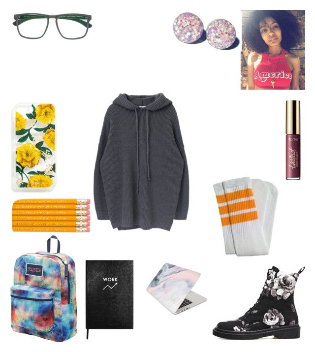 """Left my phone + bus pass home :-("" by keneko17therainbowprincess ❤ liked on Polyvore featuring Sonix, Mykita, JanSport, Sloane Stationery and Recover"