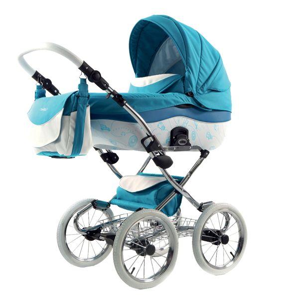 Tako Kočárek Sunline Premium, Hellblau. Elegantní houpavý kočárek s plastovou malovanou korbičkou na chromové konstrukci.