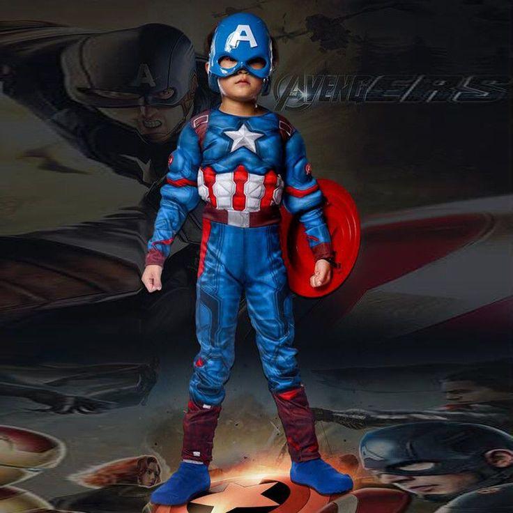 Kids Captain America Costume Avengers Child Cosplay Super