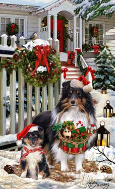 """New for 2013! Shetland Sheepdog Christmas Holiday Cards are 8 1/2"""" x 5 1/2"""" and come in packages of 12 cards. One design per package. All designs include envelopes, your personal message, and choice of greeting. Select the inside greeting of your choice from the menu below.Add your custom personal message to the Comments box during checkout."""