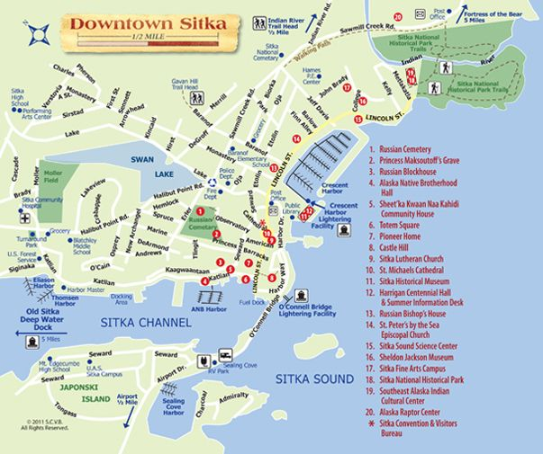 Downtown Map updated 2011 | Sitka-by-the Sea, Alaska ...
